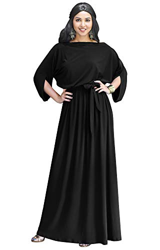 KOH KOH Plus Size Womens Long Flowy Casual Short Half Sleeve with Sleeves Fall Winter Floor Length Evening Modest A-line Formal Maternity Gown Gowns Maxi Dress Dresses, Black 4XL 26-28