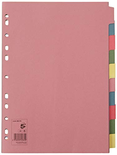 5 Star Subject Dividers Multipunched Manilla Board 10-Part A4 Assorted [Pack of 25]