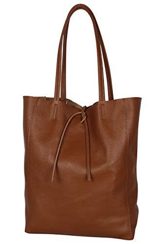 AmbraModa GL032 - Bolso de piel italiana, bolso de mujer, shopper, bolso de kombro con bolsito interior de piel de vacuno granulada (coñac)
