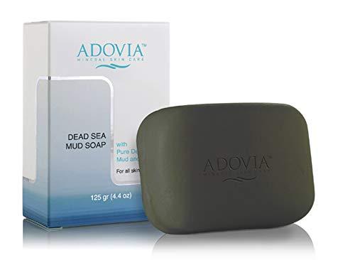 Adovia Dead Sea Soap Bar - Dead Sea Mud Soap Body Wash Moisturizing Black Soap Body Exfoliator with Aloe Vera Gel, Deep Cleansing and Hydration - Body Soap, Hand Soap Women and Mens Body Wash - 4.4oz