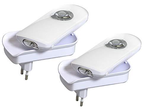 SMARTLIGHT 7000.066 LED-nachtlampjes voor stopcontact, met bewegingsmelder, als zaklamp en noodlamp, set van 2