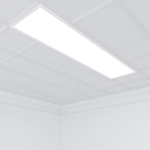 Vkele [Premium 125 lm/W] LED Panel 120x30cm Warmweiß 3000K 36W 4500 Lumen Weißrahmen Led Panel Deckenleuchte, LED-Lampe, Panelleuchte, Deckenlampe mit Federclips für Schlafzimmer, Wohnzimmer
