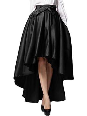 PERSUN Womens Taffeta High Waist Bowknot Front Hi-lo Prom Party Skater Skirt