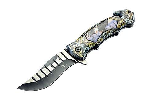 SE Spring Assisted Clip Point Folding Knife with Bald Eagle Design - KFD20024-1