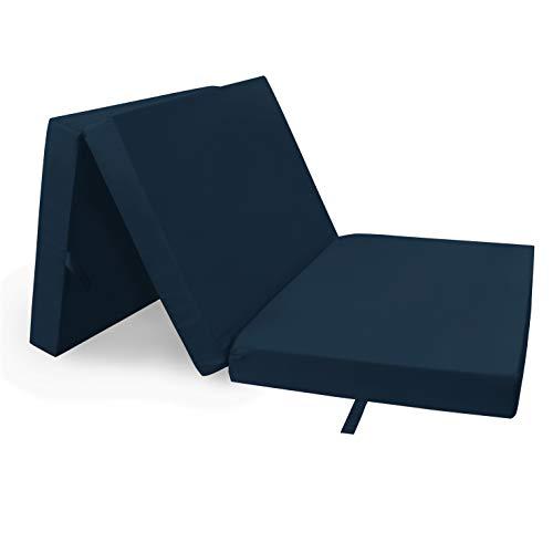 HERLAG Klappmatratze Senior (Farbe blau, Maße 195x85x10 cm, Gästebett, Faltmatratze, Bezug waschbar) P05010-2150