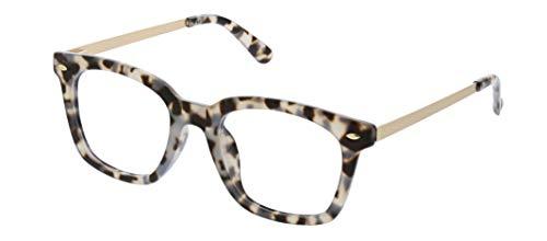 Peepers by PeeperSpecs Women's Limelight Focus Oversized Blue Light Filtering Reading Glasses, Gray Tortoise, 50 mm + 1