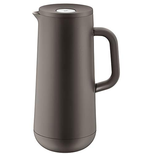 WMF Impulse Thermoskanne 1l, Isolierkanne für Kaffee oder Tee, Druckverschluss, hält Getränke 24h kalt & warm, hellbraun