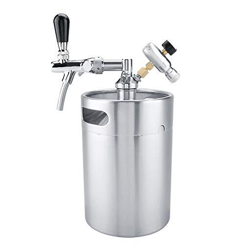 Mini barril de cerveza, barril de acero inoxidable 5L 304 con grifo presurizado, dispensador casero de cerveza artesanal, dispensador de cerveza para fermentar, almacenar y dispensar cerveza artesanal