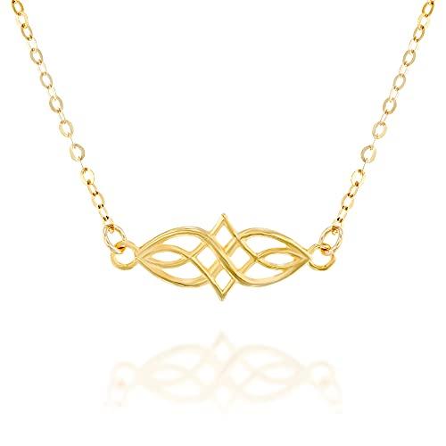 Gold Celtic Knot Choker Necklace - Designer Handmade Short Necklace13.5 inch + 3 inch Extender