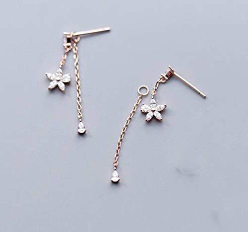 TYERY Pendientes de Plata S925, Temperamento de Flores de Cinco Pétalos de Diamantes Coreanos Femeninos Que Cuelgan en la Espalda Joyería de Oreja de Floresrosa de oro