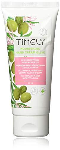 Timely - Crema de manos hidratante y regeneradora con aceite de oliva (pack de 4 x 75 ml)
