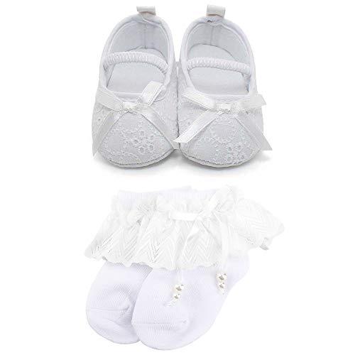 OOSAKU Baby Mädchen Kleinkind Säuglings Spitze Floral Bowknot Weiß Taufe Schuhe rutschfeste Mary Jane Dance Ballerina Hausschuhe, Schuhe & Socken2, 3-6 Monate