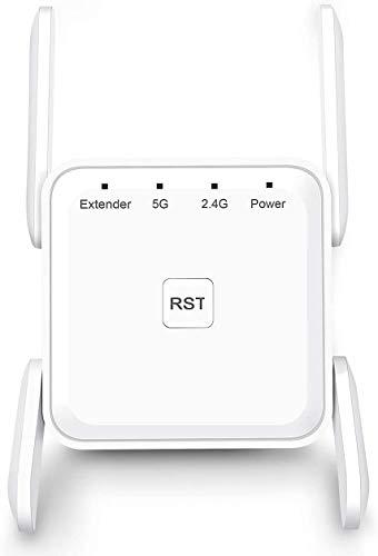 AndMore Vier-Antennen WLAN Mesh Repeater AC1200(Dual-WLAN, 5GHz / 867 Mbit/s und 2.4 GHz / 300 Mbit/s,) WiFi Repeater mit LAN-Port, kompatibel zu Allen WLAN Geräten
