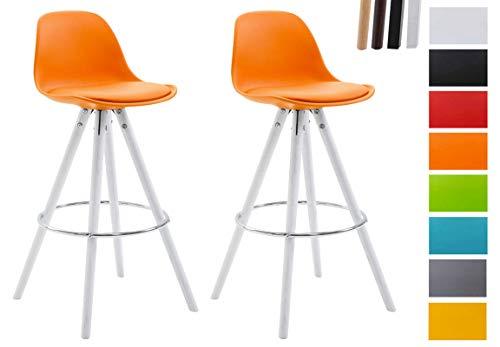 CLP 2er Set Barhocker Franklin Mit Kunststoffschale Und Kunstlederbezug I Barstuhl Mit Rundem Holzgestell Und Fußstütze Orange, weiß (Eiche)