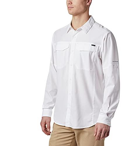 Columbia Men's Silver Ridge Lite Long Sleeve Shirt, UV Sun Protection, Moisture Wicking Fabric, White, Medium