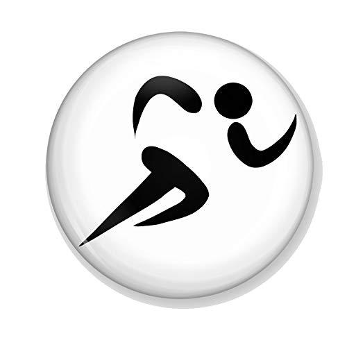 Generic Gifts & Gadgets Co Anstecknadel für Athleten, Laufen, 25 mm, Schmetterlings-Motiv, rund