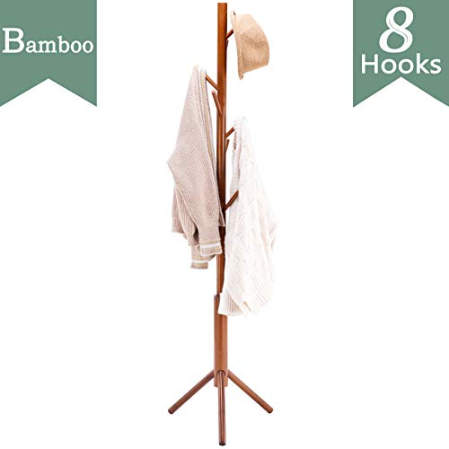 FILWH Bamboo Free Standing Coat Rack Stand, Adjustable Coat Tree with 3 Sections & 8 Hooks, Easy to Assemble Coat Hanger Stand for Bedroom, Office, Hallway, Entryway, Bedroom, Brown