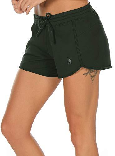 icyzone Damen Sport Shorts Sommer Kurze Hose Hot Pants Laufshorts Baumwolle (M, Dunkelgrün)