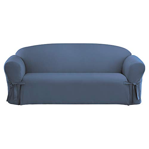 SureFit Duck Solid Box Cushion Sofa One Piece Slipcover, Relaxed Fit, 100% Cotton, Machine Washable, Bluestone Color