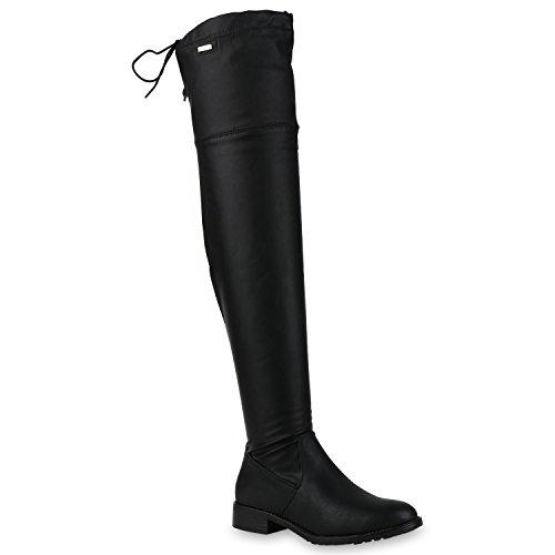 stiefelparadies Damen Overknees Stiefel Leicht Gefütterte Boots Leder-Optik Schuhe 152699 Schwarz Schleifen 38 Flandell