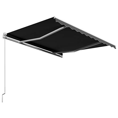 Festnight Einziehbare Markise Handbetrieben Sonnenschutz Sichtschutz Terrasse Balkon Wasser- und schmutzabweisend 300 x 250 cm Anthrazit
