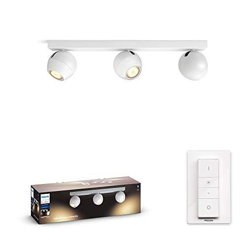 Philips Hue Buckram Barrra de 3 Focos Inteligentes LED blancos con Bluetooth, Luz Blanca de Cálida a Fría, Compatible con Alexa y Google Home