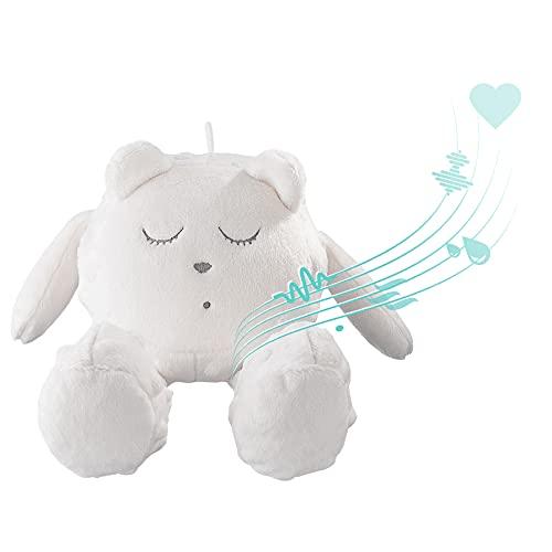 myHummy avec capteur Ourson Snoozy écru Blanc Premium | Peluche Bruit Blanc bébé | Machine à Bruit Blanc - Battement Coeur Bruit des Vagues | My hummy avec capteur de Sommeil Peluche endormissement