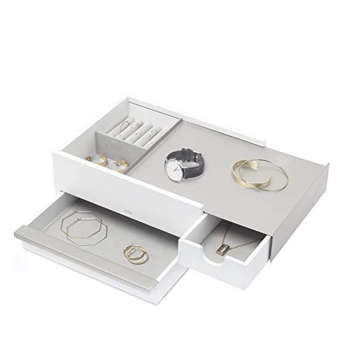 Umbra Stowit Design Schmuckkasten, Metall, Holz, Weiss/Nickel,