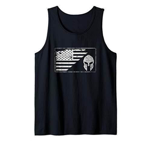USA Flag American Spartan Helmet Patriotic Vintage Tank Top