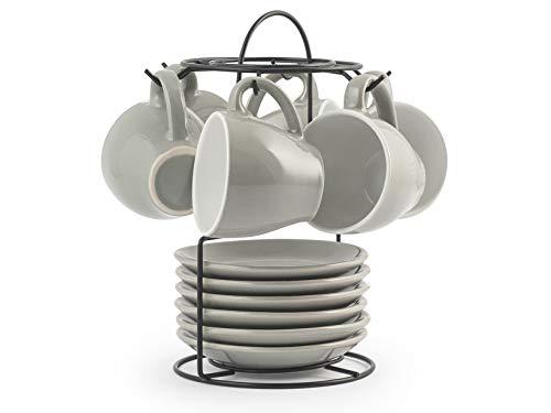 ROYAL NORFOLK 729379 Stoneware-Juego de 6 Tazas de café con platillo, Color Gris, CC 90, milliliters, Cerámica