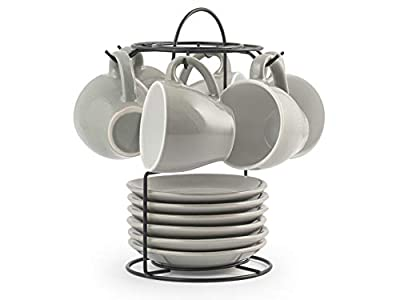 Royal Norfolk 729379 Stoneware - Juego de 6 tazas de café con platillo, color gris, CC 90
