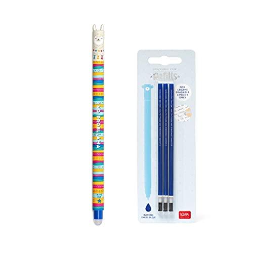 Bolígrafo de gel borrable con tinta azul + kit de 3 recambios de recarga azul Legami para niños
