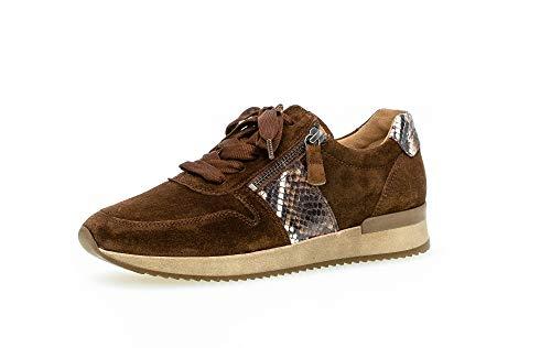 Gabor Damen Sneaker Low, Frauen Low-Top Sneaker,Wechselfußbett,Best Fitting, Sneaker keil-Absatz Halbschuh Wedge,Whisky Kombi,36 EU / 3.5 UK