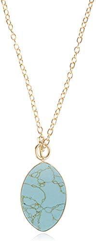 RIAH FASHION Bohemian Natural Stone Pendant Long Necklace Boho Charm Layering Statement Chain product image