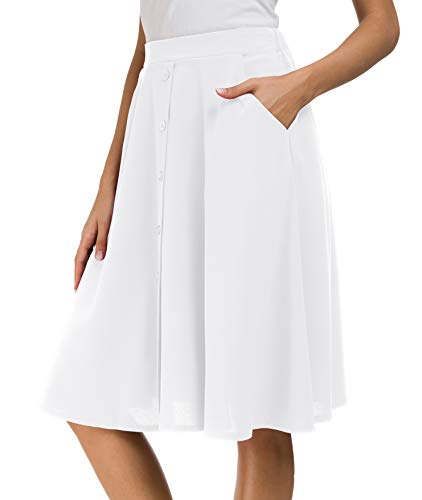 Afibi Womens High Waisted A Line Pleated Midi Skirt Button Front Skirts with Pocket (Small, White)