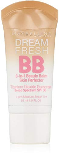 Maybelline Dream Fresh BB 8-in-1 Beauty Balm Skin Perfector SPF 30, Light/Medium, 1 oz (Pack of 2)