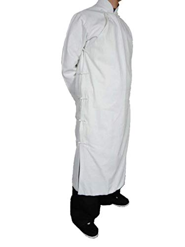 100% Coton Manteau Blanc Qi Gong Kung Fu Tenue Tai Chi Col Mao Sur Mesure #124
