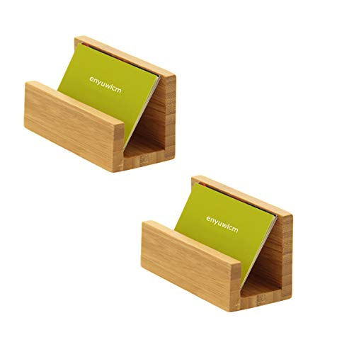 Enyuwlcm Bamboo Wood Desktop Business Card Holder Display for Desk Sturdy Business Card Stand for Office Tabletop Counter Organizer 2 Pack