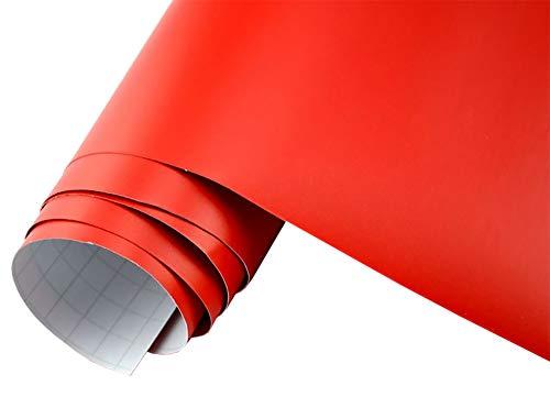 Neoxxim 5€/m2 Auto Folie matt - rot matt 200 x 150 cm Klebefolie Dekor Folie dehnbar auch für Möbel