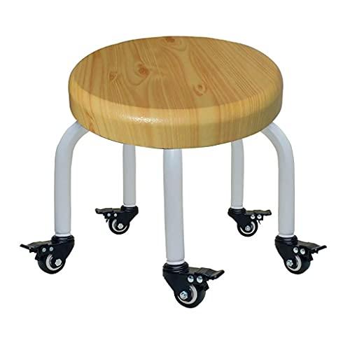 QLIGAH Taburetes bajos con 5 ruedas de freno, taburete de descanso alto de la rodilla, cómodo pequeño escritorio silla de baño, taburete corto polea directores sillas