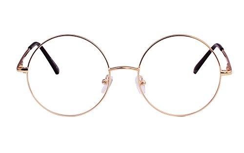Agstum Retro Round Prescription ready Metal Eyeglasses Frame 51mm (X-Large Size) (Gold, 51)