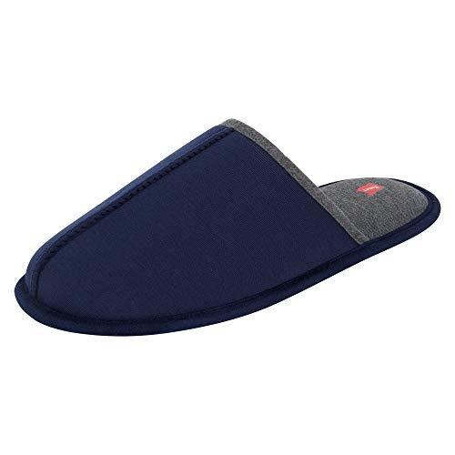 Hanes Men's Slide Scuff Slipper House Shoes Comfort Memory Foam Indoor Outdoor, Navy/Grey, Large