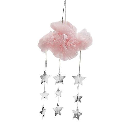PETSOLA Mesh Wolke Sterne Anhänger DIY Dekoration für Baldachin Betthimmel Prinzessin Spielzelt - Rosa B