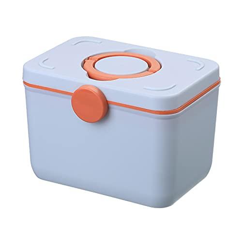 LJKD Armoire à Pharmacie Domestique, boîte de Rangement pour médicaments de Premiers Secours de Grande capacité, Plastique Double Couche Portable Familial,Light Blue