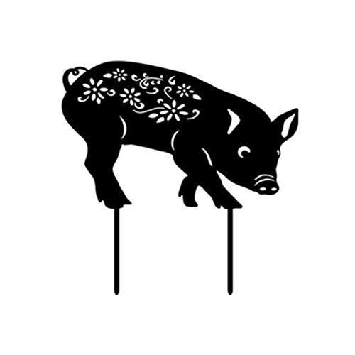 Akrylowy ogródek świnka figurka czarna sylwetka świnka dekoracyjne słupki ogrodowe statuetki do ogrodu na zewnątrz słupki dla zwierząt dekoracje i dekoracji trawnika