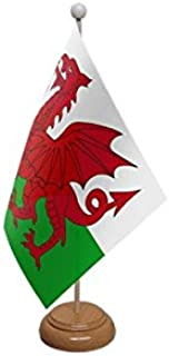 Wales Welsh Dragon Wooden Based Table Flag
