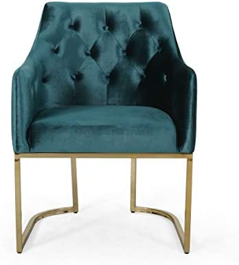 Best Christopher Knight Home Fern Modern Tufted Glam Accent Chair with Velvet Cushions and U-Shaped Base,