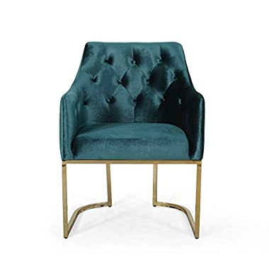 Christopher Knight Home Fern Modern Tufted Glam Accent Chair with Velvet Cushions and U-Shaped Base, Teal Finish, Black…