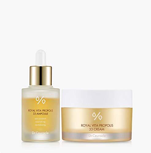 Dr.Ceuracle Royal Vita Propolis 33 Ampoule 1.01 fl.oz. & Royal Vita Propolis 33 Cream 50g (strengthen the skin moisturizing, nourishing, skin health, honey essence, nutrition Serum) (Ampoule + Cream)