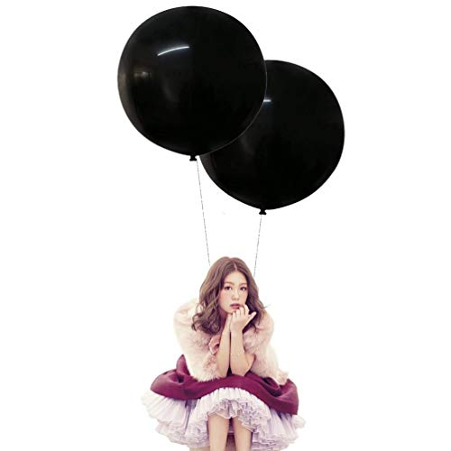 24 Inch Latex Round Balloons 10 Pack Black Thick Big Balloons for Photo Shoot Wedding Baby Shower Birthday Party Decorations by IN-JOOYAA